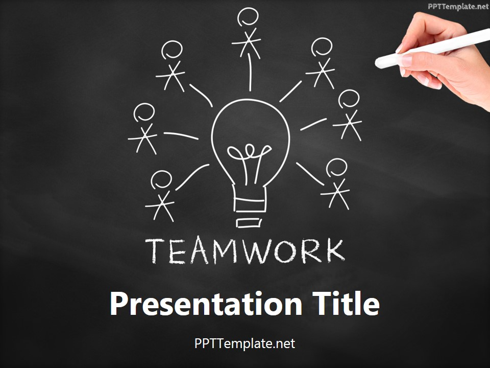 Free Teamwork Bulb Chalk Hand PPT Template