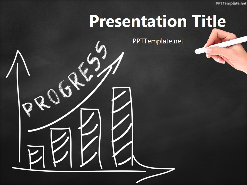 Free progress chalk hand black ppt template for Chalkboard powerpoint templates free download